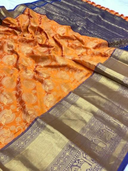 grabandpack Women's Orange Designer Party Wear Silk Saree