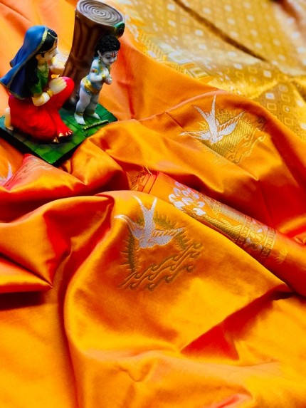 soft lichi silk Traditional saree in orange