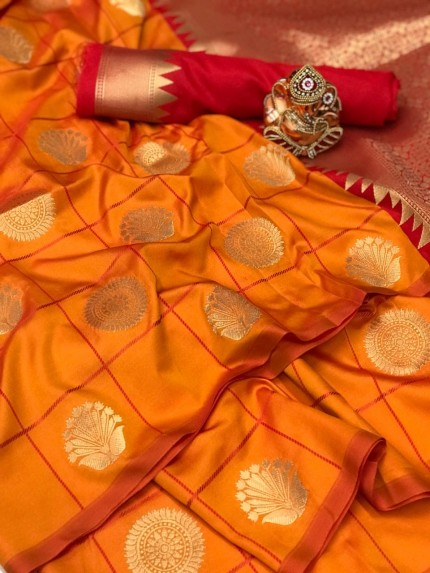 Orange Soft silk checks woven saree