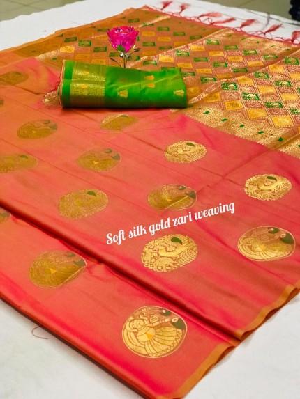 Women's Orange Banarasi Silk Weaving Jacquard Saree by grabandpack