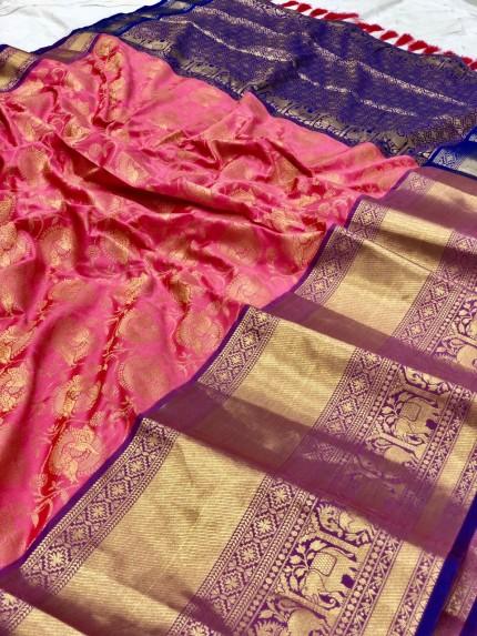 grabandpack Women's Peach Designer Party Wear Silk Saree