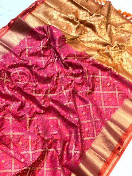 Pink banarasi silk sarees online with price - grabandpack