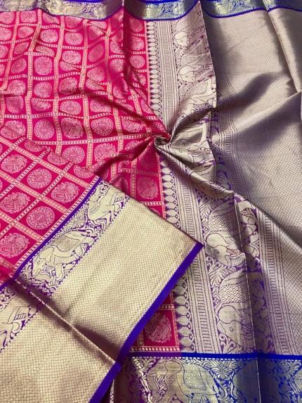 Pink color soft silk saree