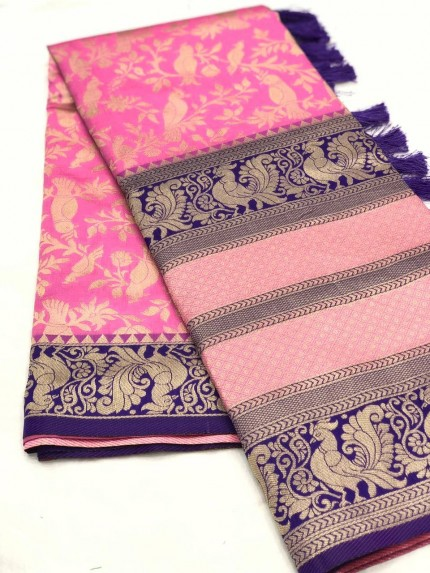 women's Pink kanjeevaram silk saree online shopping gnp009765
