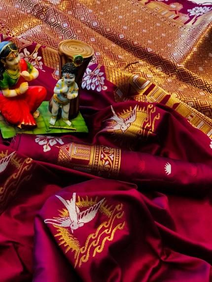 soft lichi silk Traditional saree in Pink