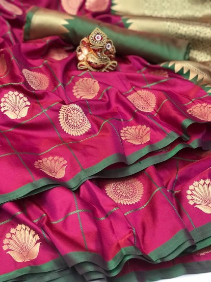 Soft silk checks woven saree