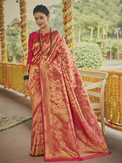Stunning pink Paithani silk Silk Woven saree