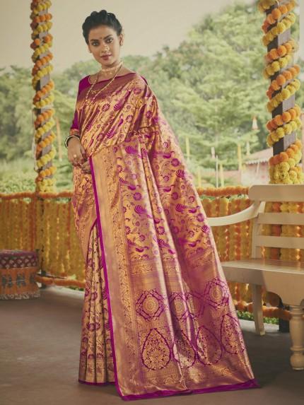 Stunning pink Paithani silk Silk Woven indian saree