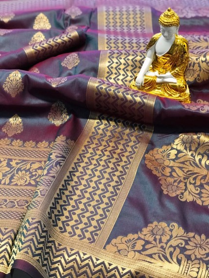 Purple coloured Jacquard Gold zari work saree at grabandpack