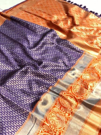 purple saree contrast blouse