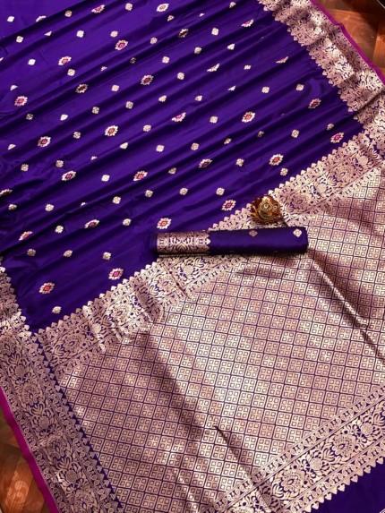 Purple Lichi Silk Traditional Saree at grabandpack