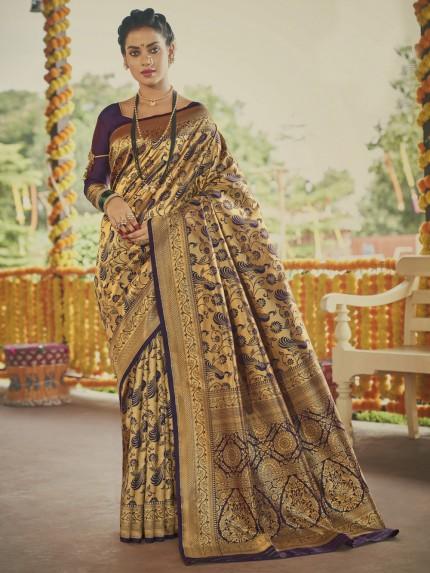 Stunning Purple Paithani silk Silk Woven saree