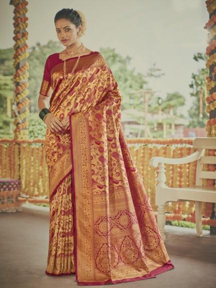 Stunning Red Paithani silk Silk Woven indian saree