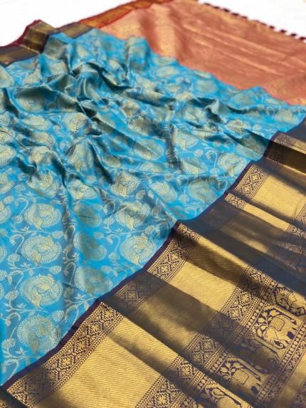 grabandpack Women's Sky Blue Designer Party Wear Silk Saree