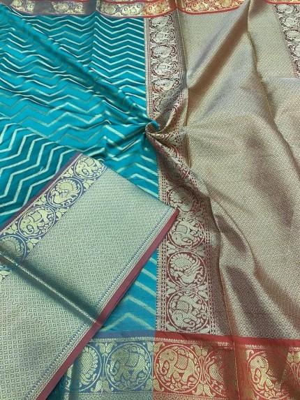 Blue Kanjivaram silk saree online