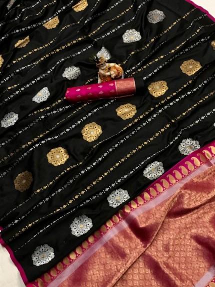 Women's Soft Banarasi Lichi Silk Saree in Black