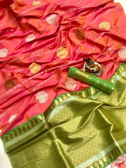 Women's Soft Banarasi Lichi Silk Saree in Peach