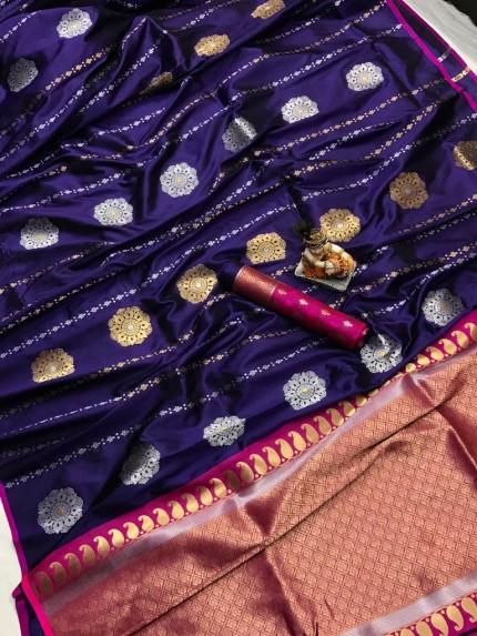 Women's Soft Banarasi Lichi Silk Saree in Purple