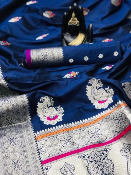women's Soft Banarasi silk saree in Blue