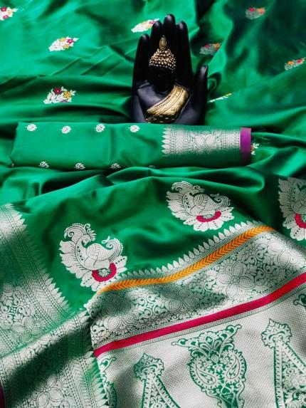 women's Soft Banarasi silk saree in Green
