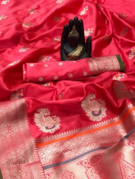 Soft Banarasi silk saree in Peach