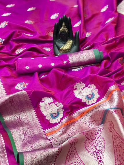 women's Soft Banarasi silk saree in Pink