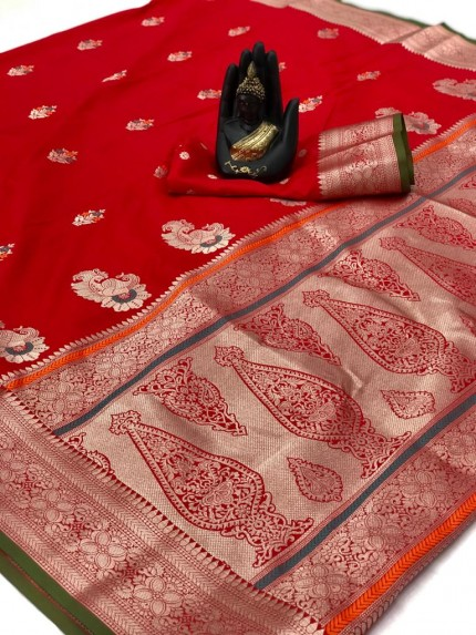Soft Banarasi silk saree in Red