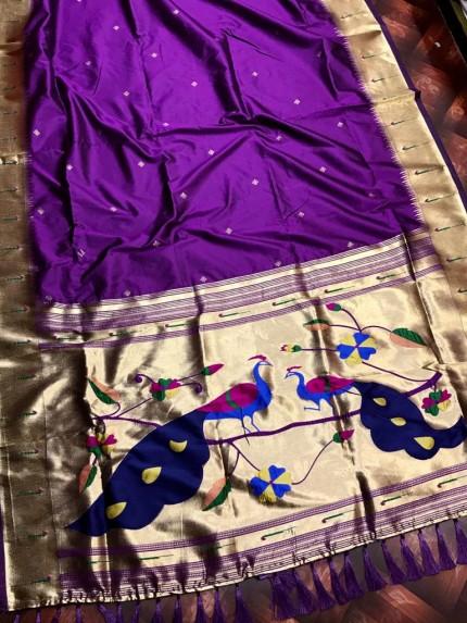 women's Soft Kanchipuram silk saree in Purple