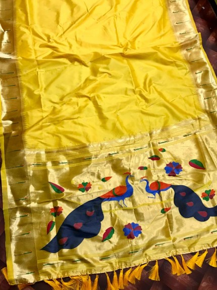 Soft Kanchipuram silk saree in Yellow