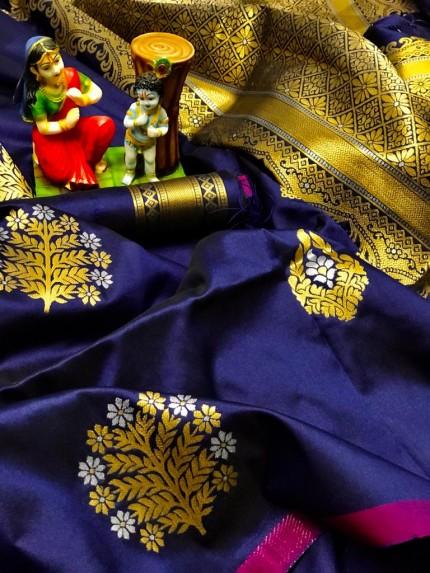 soft lichi silk saree in Blue