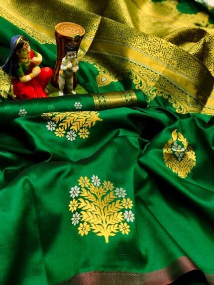 Women's soft lichi silk saree in Green gnp010315