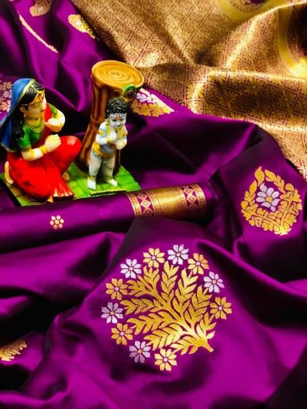 Women's soft lichi silk saree in Pink