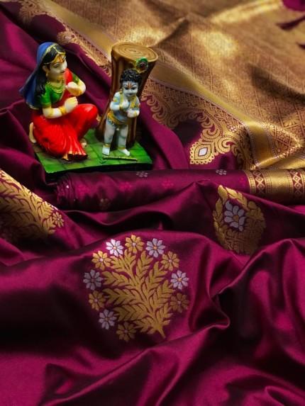 soft lichi silk saree in Purple