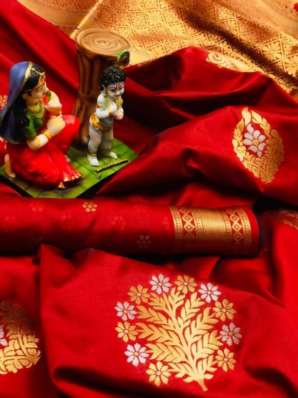 soft lichi silk saree in Red