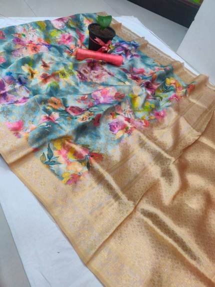 floral printed saree at GrabandPack