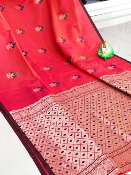 GrabandPack Peach color Saree Dukaan