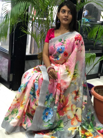 Latest collection of Printed Linen sarees