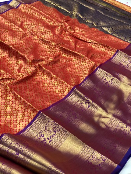 Women's Trending Red Traditional silk saree | Saree for Ugadi Festival