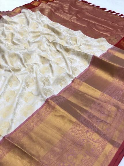 grabandpack Women's white Designer Party Wear Silk Saree