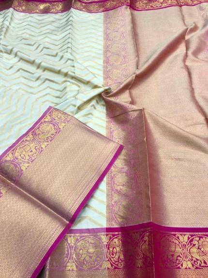 White Kanjivaram silk saree online