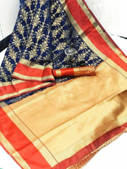 Blue coloured Woven Banarasi Jacquard gnp007082