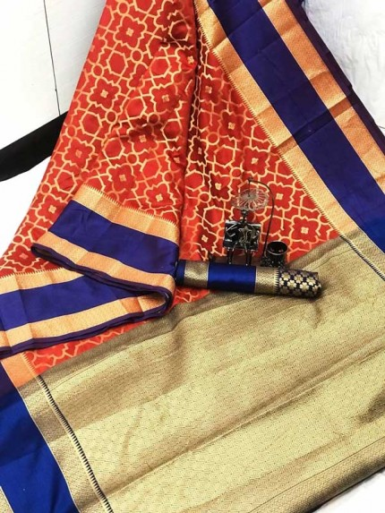 Red coloured Woven Banarasi Jacquard gnp007083