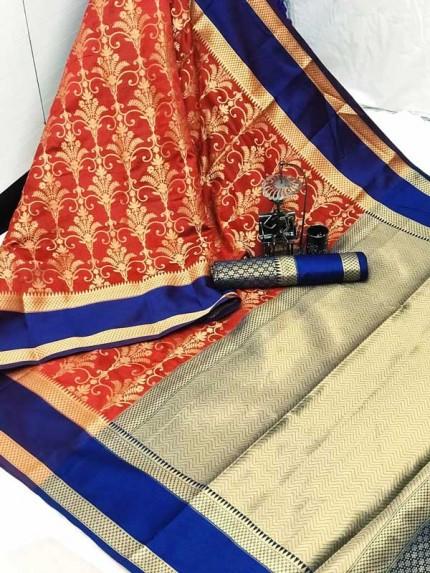Red coloured Woven Banarasi Jacquard gnp007084