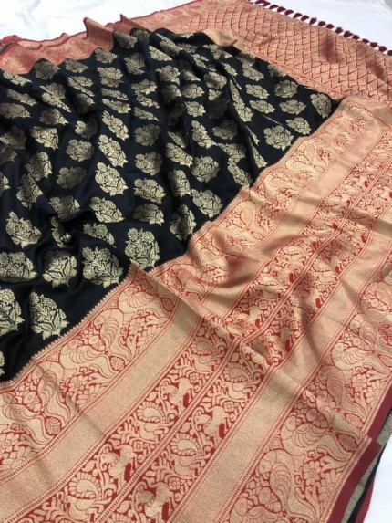 Black color Woven silk saree