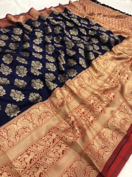 Jacquard Saree in Blue