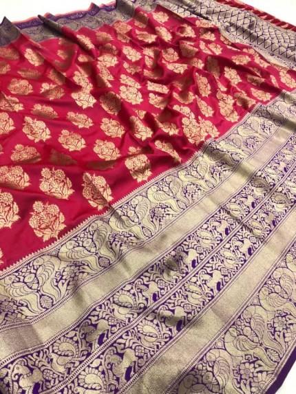 Pink color Woven silk saree