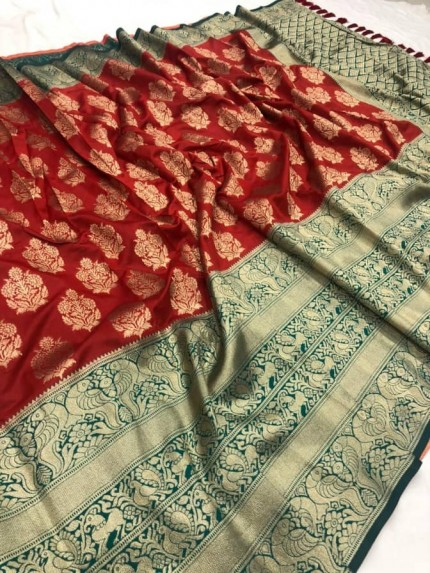 red color Woven silk saree