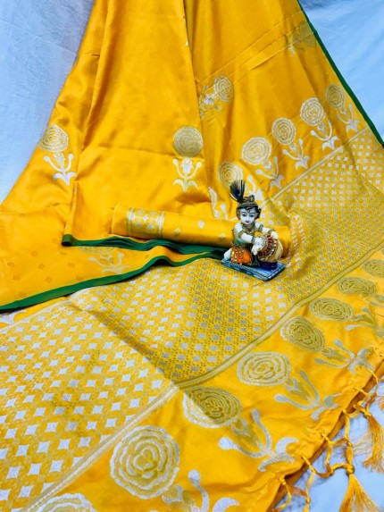 Yellow Lichi Silk with Zari Weaving Saree - gnp010064
