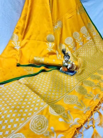 Yellow Lichi Silk with Zari Weaving Saree - gnp010064
