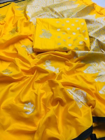 Yellow Lichi Silk with Zari Weaving Saree - gnp010088